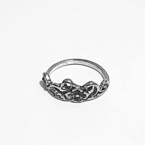 Floral Meadow Antique Silver Midi Ring 4.5